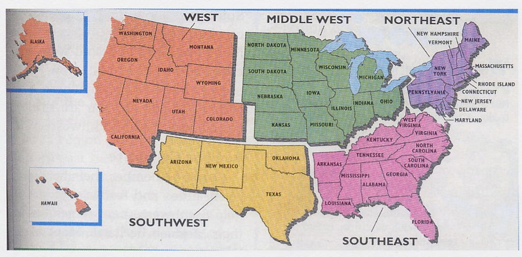Regions Of The United States For Kids LC G Schedule Map USA - 4 regions of us map
